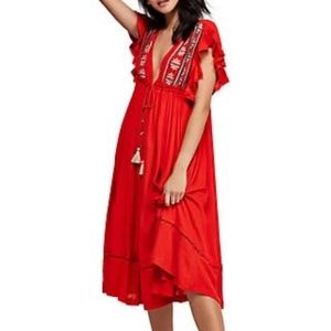 FREE PEOPLE WILL WAIT FOR YOU MIDI CREPE DRESS
